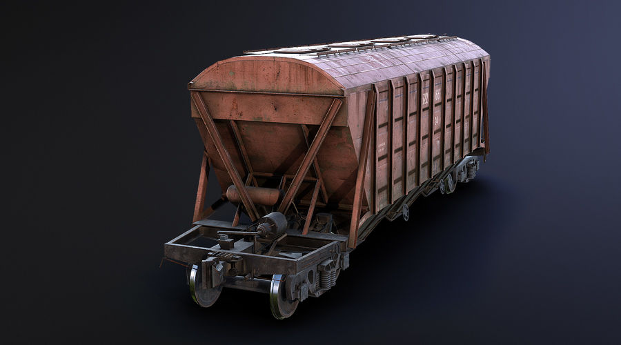 Carro Hopper LOD1 royalty-free 3d model - Preview no. 2