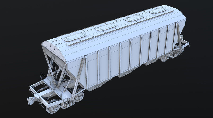 Carro Hopper LOD1 royalty-free 3d model - Preview no. 7
