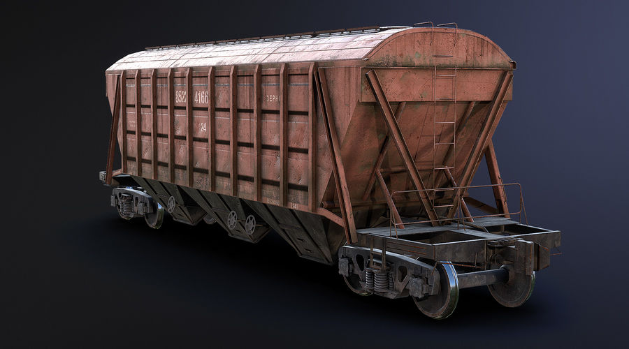 Carro Hopper LOD1 royalty-free 3d model - Preview no. 4
