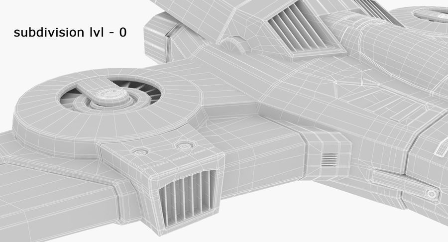 SciFi Fighter royalty-free 3d model - Preview no. 26