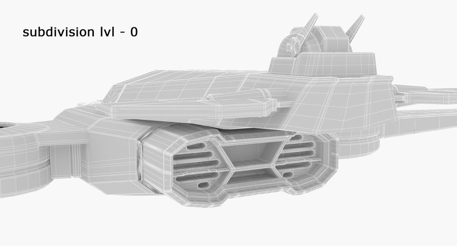 SciFi Fighter royalty-free 3d model - Preview no. 22