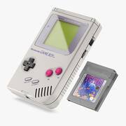 Gameboy och patron 3d model