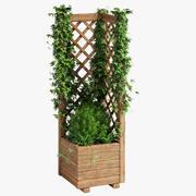 Jardinera cuadrada con celosía 2 modelo 3d