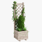Jardinera cuadrada con celosía 1 modelo 3d