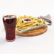 Cola med pommes frites 3d model
