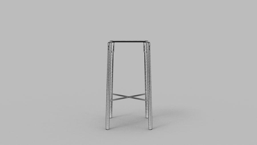 Taburete de bar de diseño escandinavo minimalista royalty-free modelo 3d - Preview no. 12