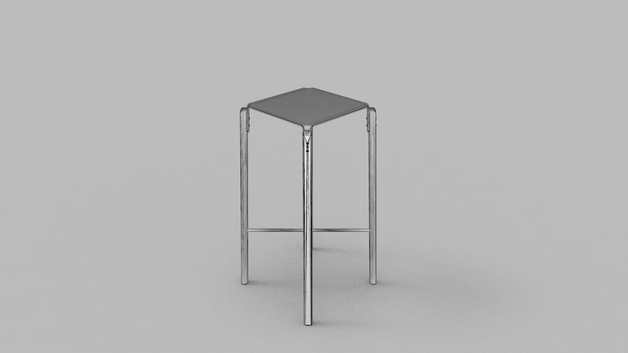 Taburete de bar de diseño escandinavo minimalista royalty-free modelo 3d - Preview no. 9