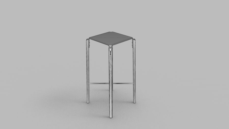Taburete de bar de diseño escandinavo minimalista royalty-free modelo 3d - Preview no. 10