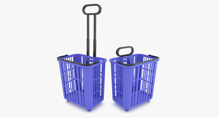 Supermercado - carrinho de compras com rodas royalty-free 3d model - Preview no. 2