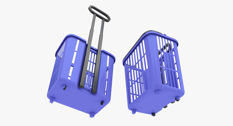 Supermercado - carrinho de compras com rodas royalty-free 3d model - Preview no. 4