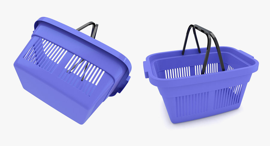 Supermercado - Cesto de compras de plástico royalty-free 3d model - Preview no. 5