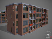 Low Poly Hotel Building 3d model