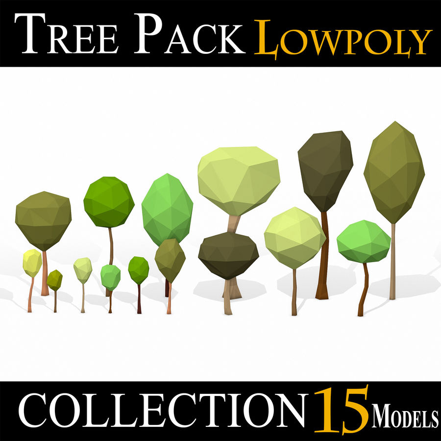 简单的树包-低聚 royalty-free 3d model - Preview no. 1