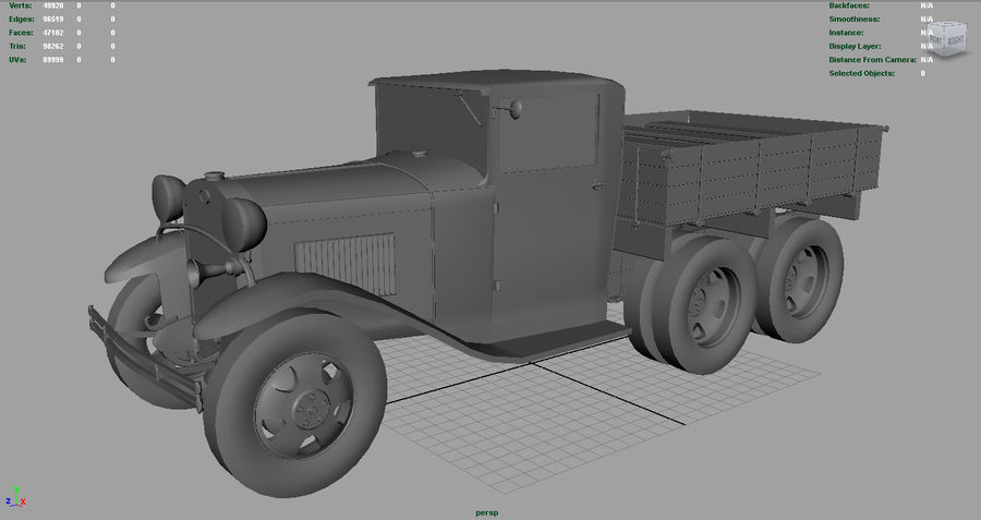 GAZ AAA TRUCK DIRT royalty-free 3d model - Preview no. 3