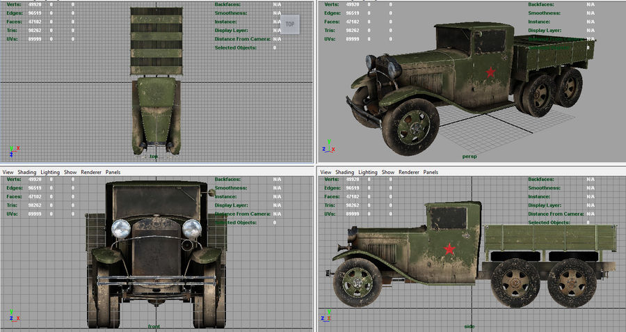 GAZ AAA TRUCK DIRT royalty-free 3d model - Preview no. 5