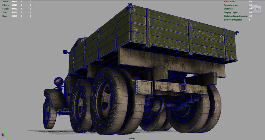 GAZ AAA TRUCK DIRT royalty-free 3d model - Preview no. 11