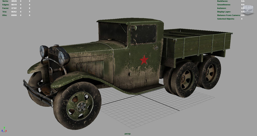 GAZ AAA TRUCK DIRT royalty-free 3d model - Preview no. 2