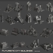 Futuristic City Buildings 3d model
