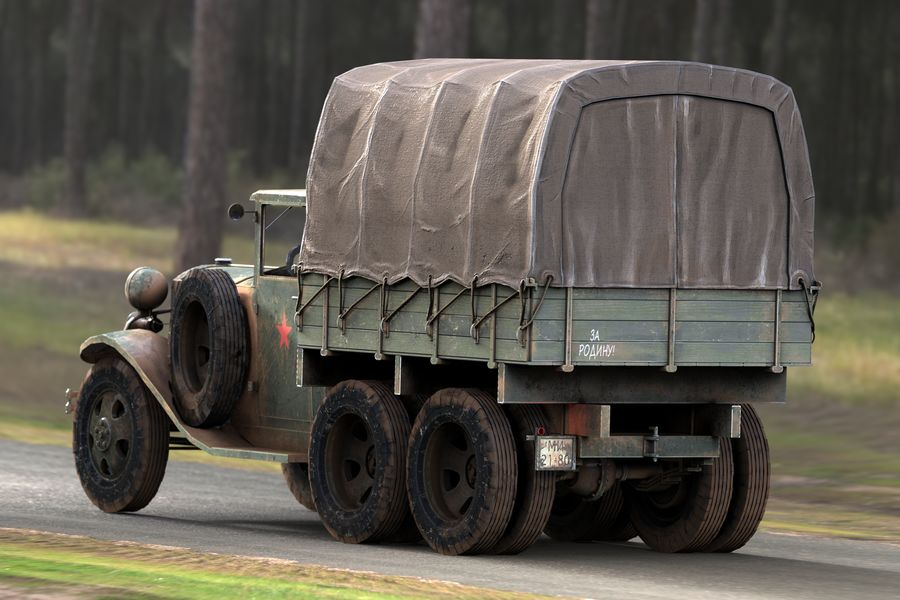 GAZ AAA CARGO TRUCK royalty-free 3d model - Preview no. 3