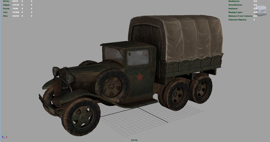 GAZ AAA CARGO TRUCK royalty-free 3d model - Preview no. 12