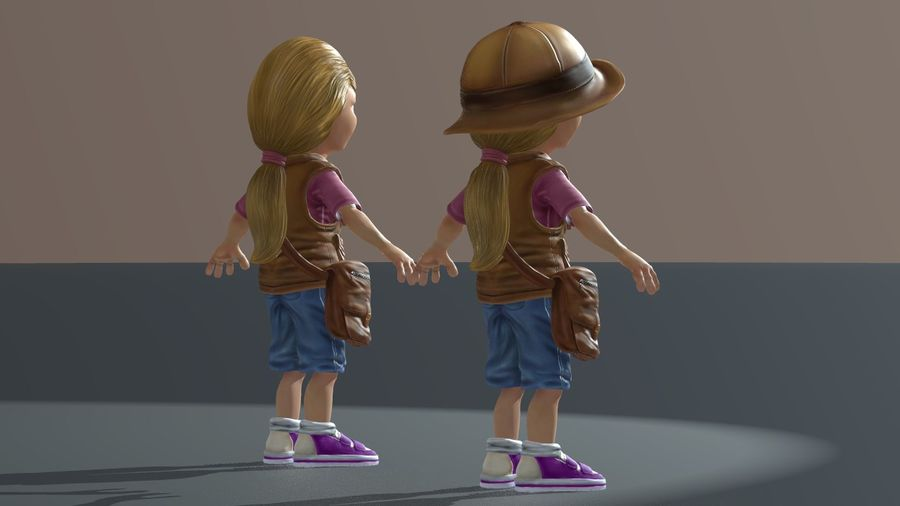 Exploring Girl royalty-free 3d model - Preview no. 8