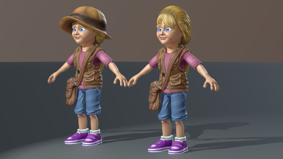 Exploring Girl royalty-free 3d model - Preview no. 11