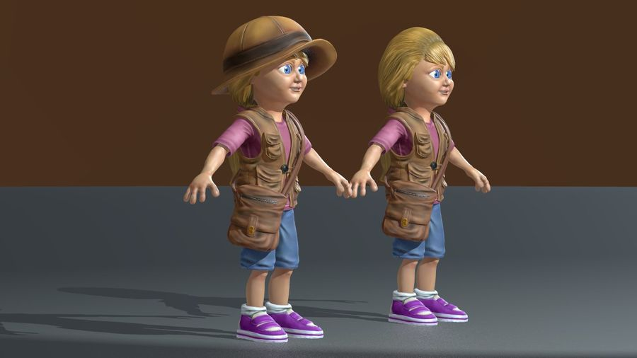 Exploring Girl royalty-free 3d model - Preview no. 5