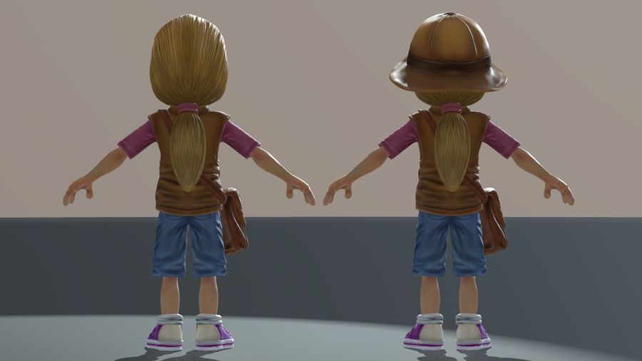 Exploring Girl royalty-free 3d model - Preview no. 9