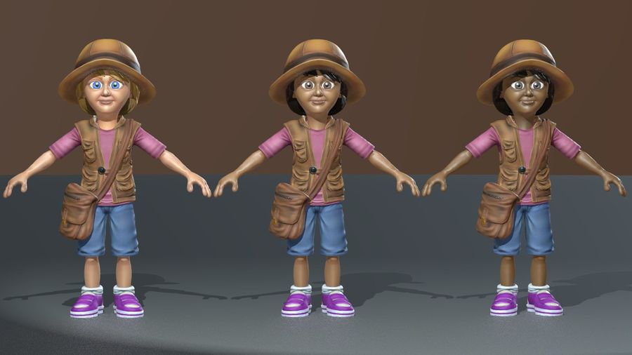 Exploring Girl royalty-free 3d model - Preview no. 3