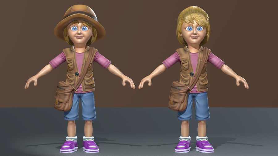 Exploring Girl royalty-free 3d model - Preview no. 12