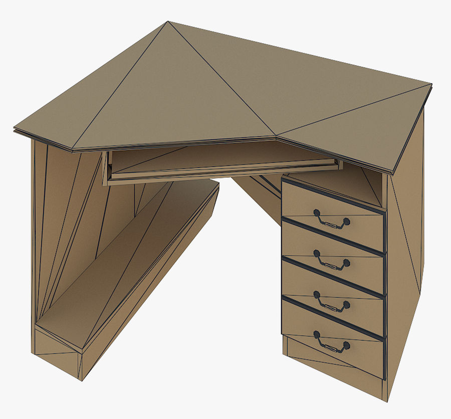 Furniture Computer Table royalty-free 3d model - Preview no. 6