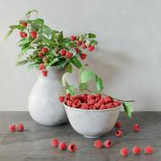 raspberries bouquet 3d model