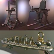 Gym Equpment & Items 3d model
