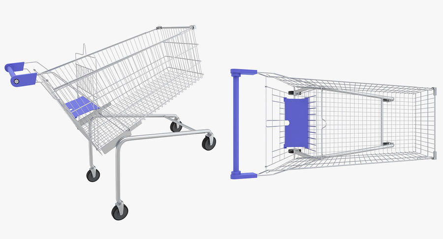 Supermarket - Shopping Cart royalty-free 3d model - Preview no. 4