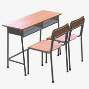 School Desk and Chair 2 Places 3d model