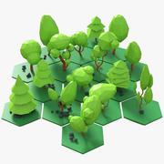 낮은 폴리 나무 팩 만화 3d model