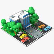Düşük Poli okul sahnesi 3d model