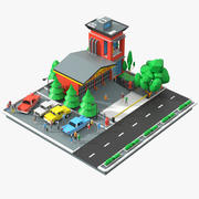 Low Poly Fire Station Scene 3d model