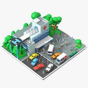Escena de hospital de dibujos animados de baja poli modelo 3d