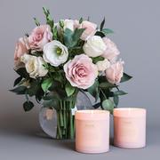 꽃과 촛불 3d model