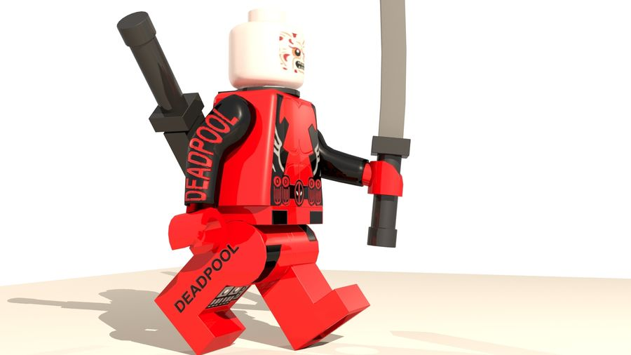 Lego Deadpool Karakter royalty-free 3d model - Preview no. 11
