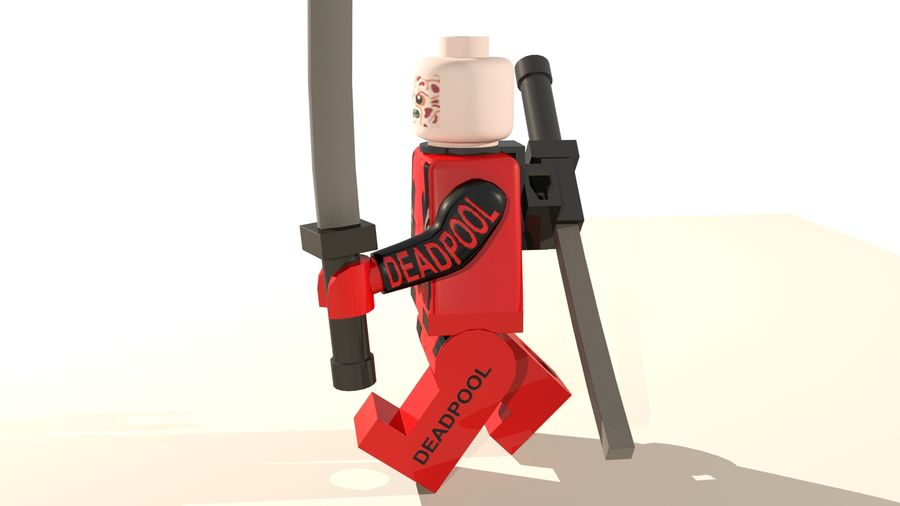 Lego Deadpool Karakter royalty-free 3d model - Preview no. 12