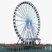 Roda gigante de Seattle no Pier Night Rigged modelo 3D 3d model