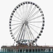 Roda-gigante de Seattle no cais 3d model