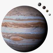 Юпитер и 4 Луны Фотореалистичные 3d model