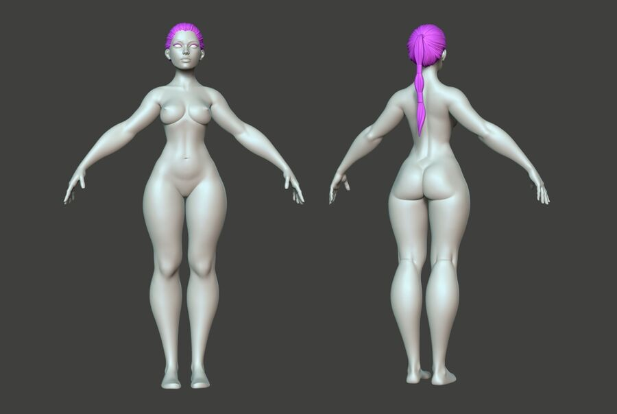 Corpo Feminino Basemesh 11 royalty-free 3d model - Preview no. 2