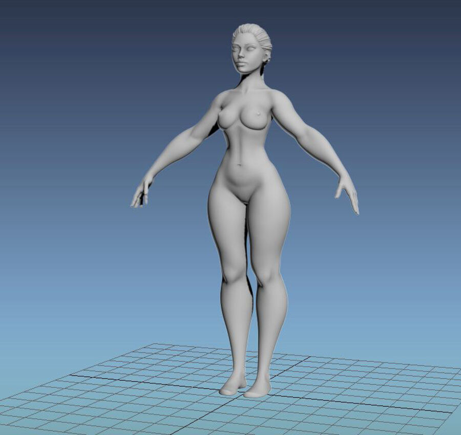 Corpo Feminino Basemesh 11 royalty-free 3d model - Preview no. 20