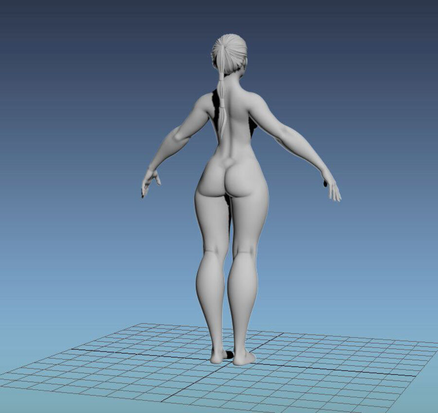 Corpo Feminino Basemesh 11 royalty-free 3d model - Preview no. 21