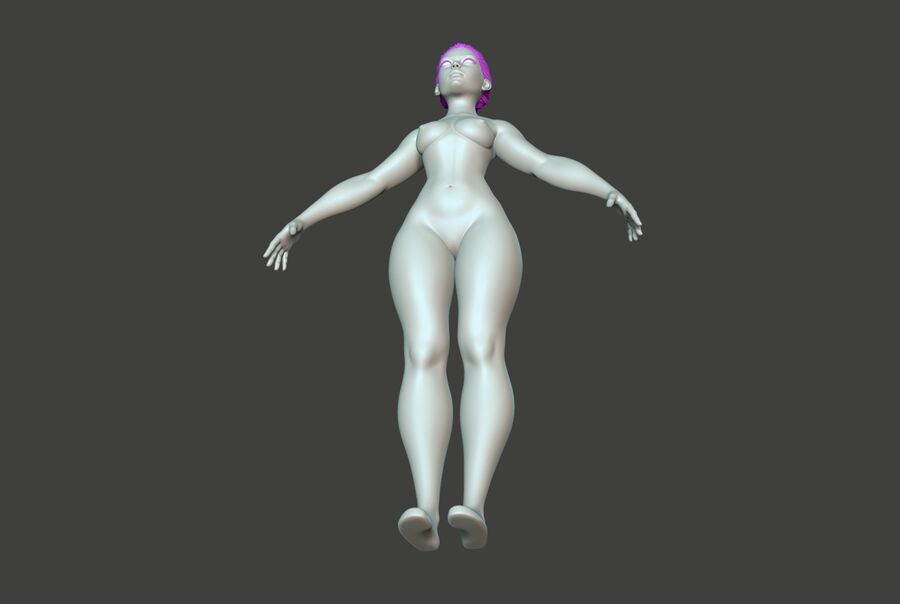 Corpo Feminino Basemesh 11 royalty-free 3d model - Preview no. 13