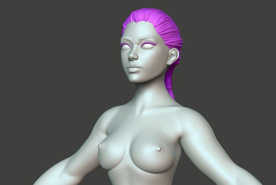 Corpo Feminino Basemesh 11 royalty-free 3d model - Preview no. 6